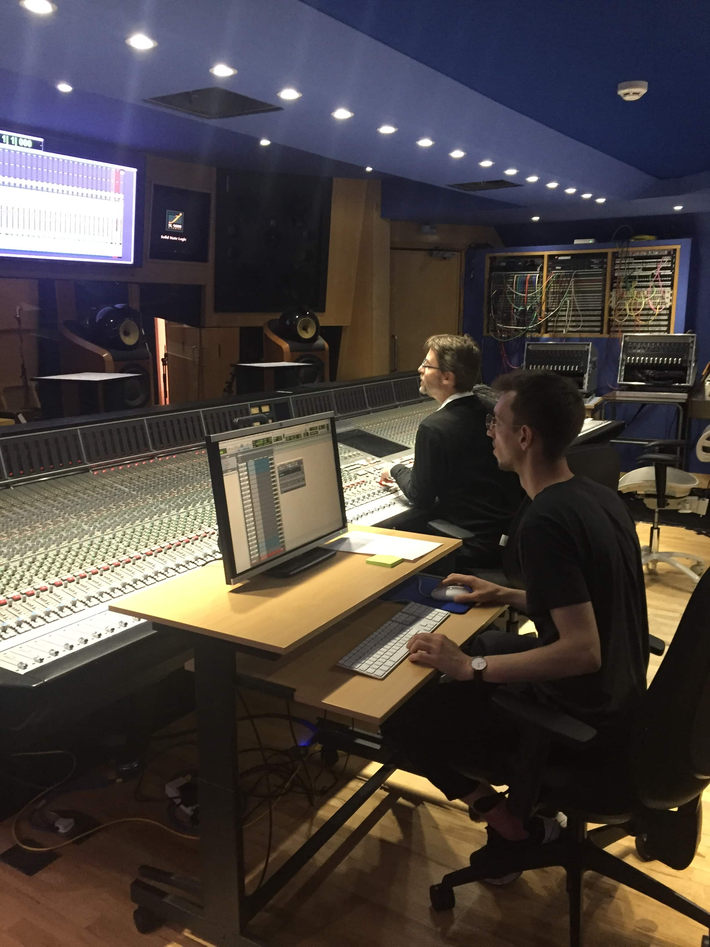 Programme Director Carlos Lellis and student Tim Wetter on the mixing console