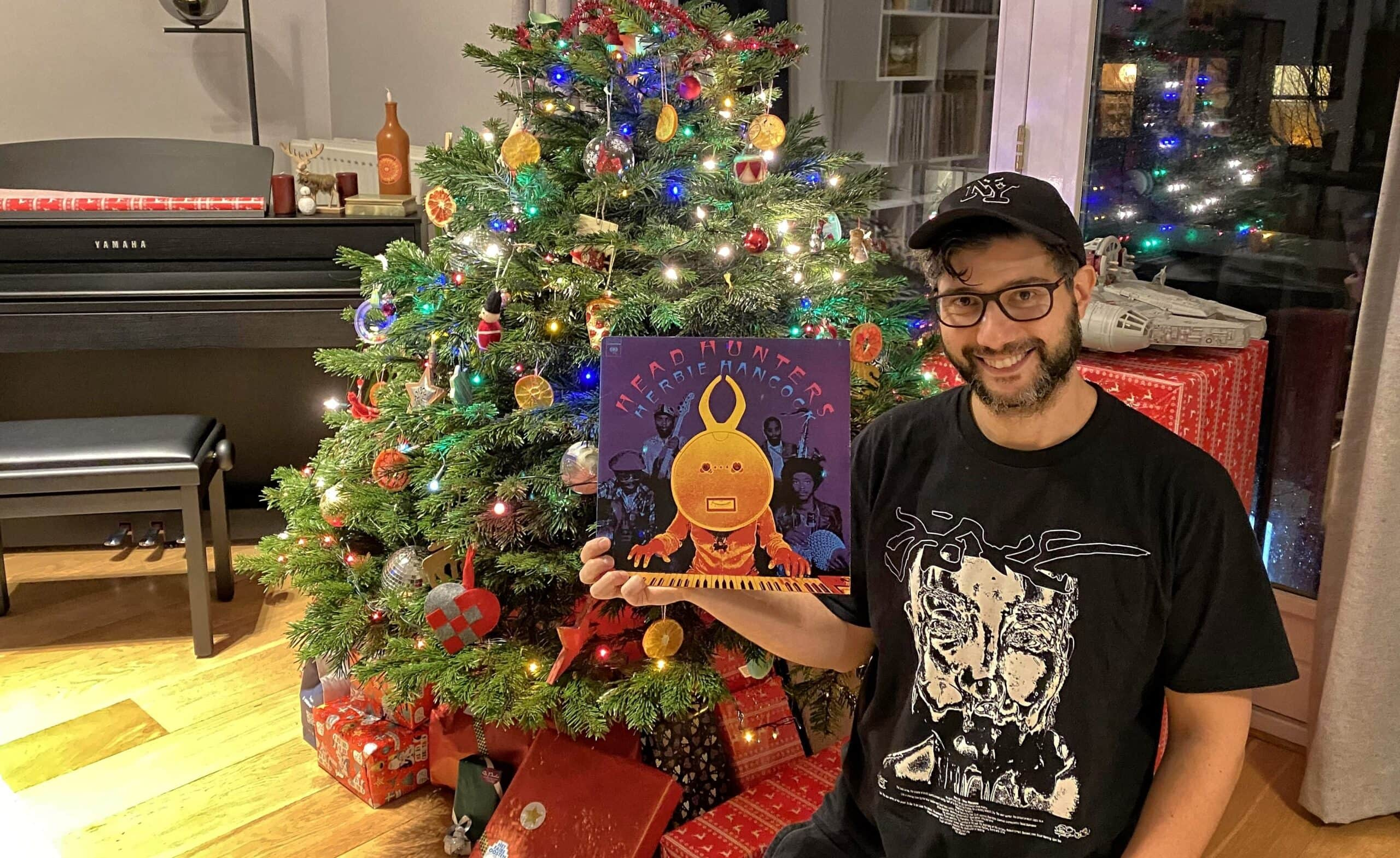 Marcoantonio Spaventi with his favourite album, Headhunters 1973 Herbie Hancock