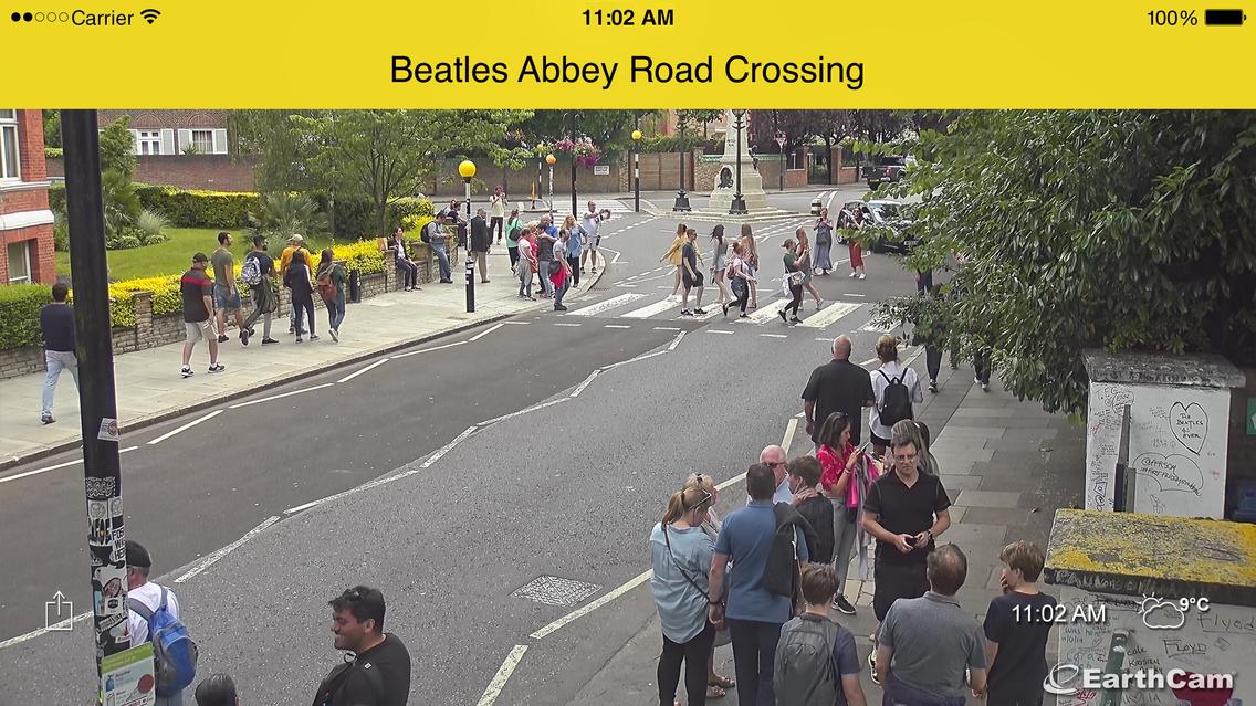 Abbey Road Zebrastreifen (klicke auf das Bild, um zum Livestream der Earthcam zu gelangen)