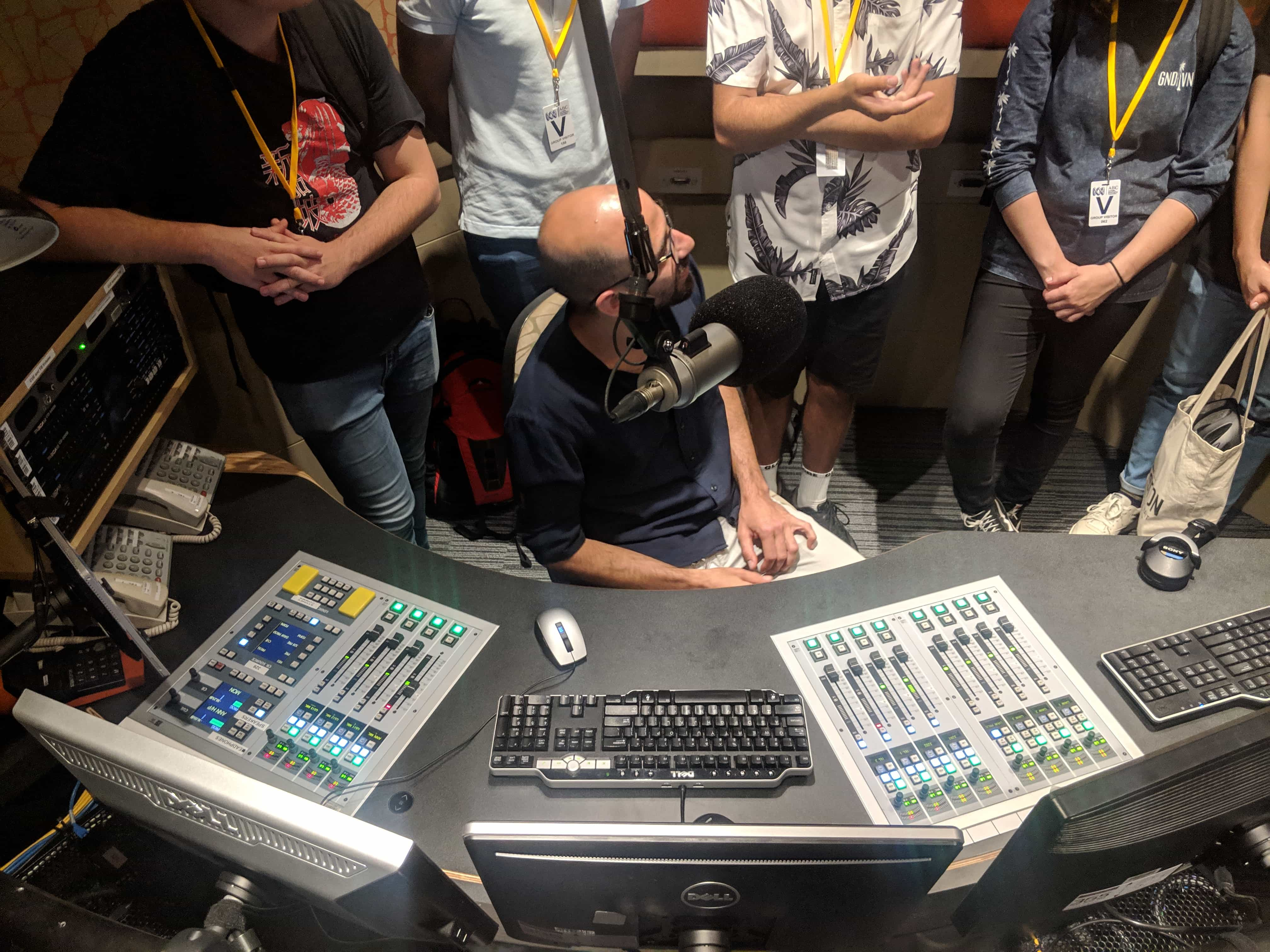 Oren teaching interns about broadcast