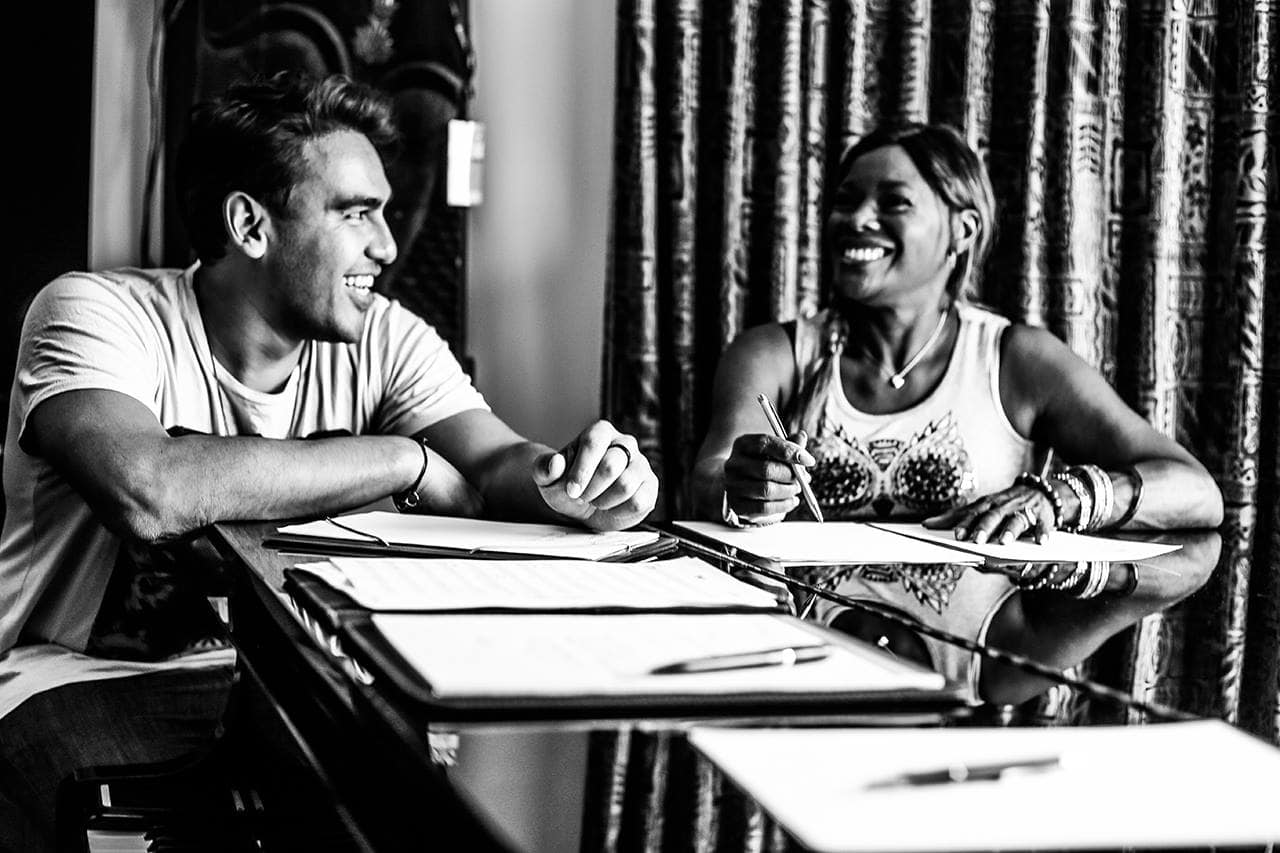 Picture of Ron Haryanto songwriting with Marcia Hines